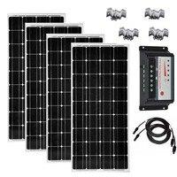 Kit Solar 100w 200W 300w 400w Solar Panel 12v 100w Solar Controller 12v/24v 30A PWM PV Cable Z Solar Mount Bracket Camping Car