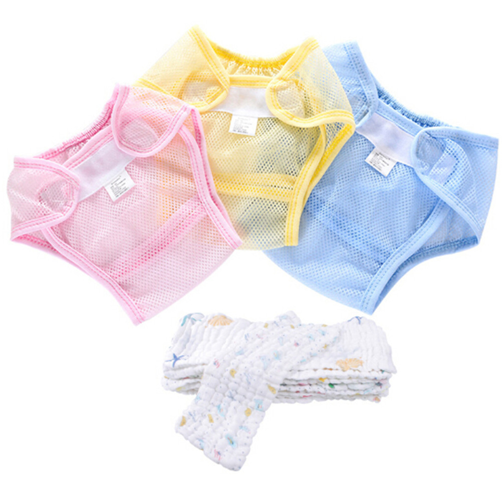 Reusable Cotton Liner Baby Diapers Cloth Nappies Washable Mesh Pocket Nappy Newborn Summer Breathable Diapers Infant Random