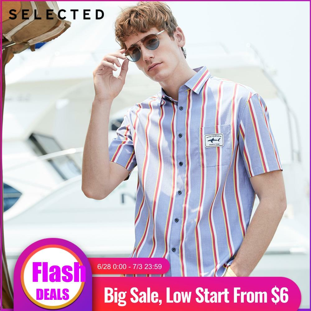 SELECTED Men's Summer 100% Cotton Stripe Embroidery Short-sleeved Shirt S|419204523