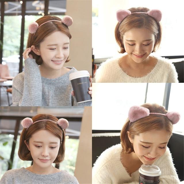 Style Cat Ears Balls Plush Headband Women Girls Lovely Hairband Hair Hoop Birthday Party Use Hair Accessories