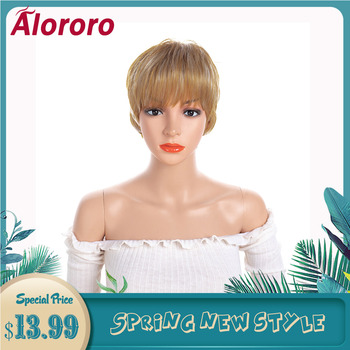 Alororo Blonde Short Wigs for Women High Temperature Wire Synthetic Hair Wigs Daily Wear and Party Fashion Female False Hair фото