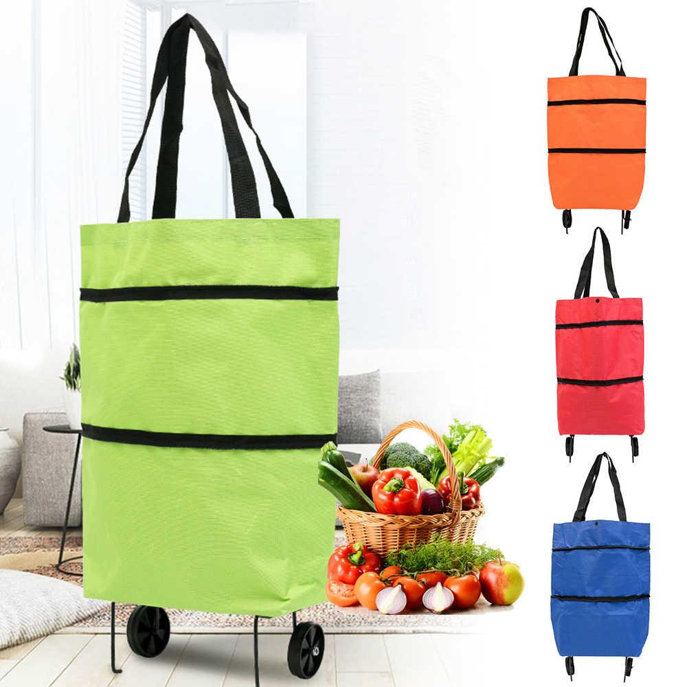 Torby na zakupy wielokrotnego użytku składana tkanina torba na zakupy spożywcze zmywalne torby poliester składany w dołączonym etui 42x55CM kolorowy