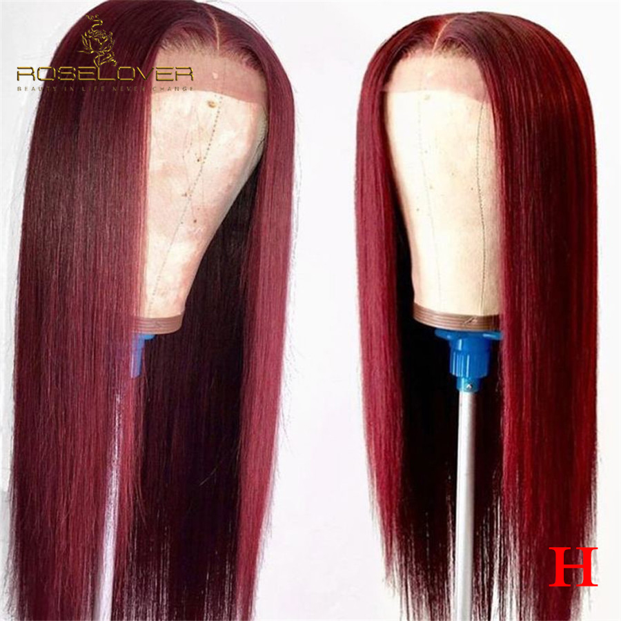 Burgundy Transparent Lace Wigs 99J Ombre Pre Plucked 13x6 Lace Front Human Hair Wigs With Baby Hair Straight Brazilian Remy Hair