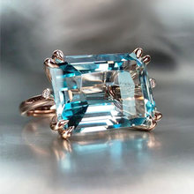Huitan Solitaire 4 Claw Sky Blue Band Ring for Women Romantic Rose Gold Color Horizontal Rectangular Shape Fashion Girl Rings