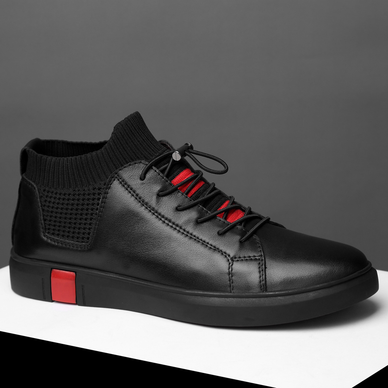 Fashion Sneakers Flats Shoes For Men NEW Brand High Quality All Black Men's Leather Casual Flats Shoes Korean Leisure
