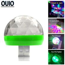 цена на Colorful LED Decorate Lamp Car USB Atmosphere Light Music Sound DJ RGB Mini Light for Festival Party USB-C Phone Emergency Light