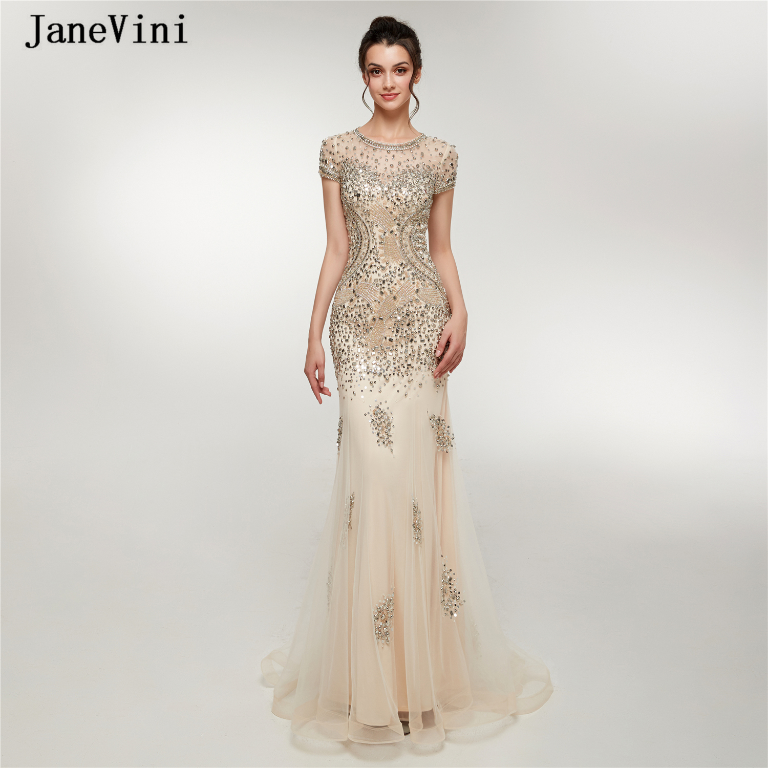 JaneVini Luxury Beading Dubai Tulle Long   Prom     Dresses   O-Neck Sexy Mermaid Short Sleeves Illusion Back Women Formal Party Gowns