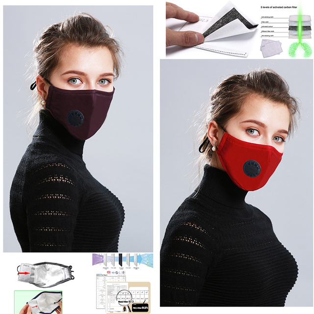 Cotton Face Mouth Mask Anti Pollution KN95/PM2.5 Mask Dust Activated Carbon Filter Respirator Masks bacteria proof Flu Face mask