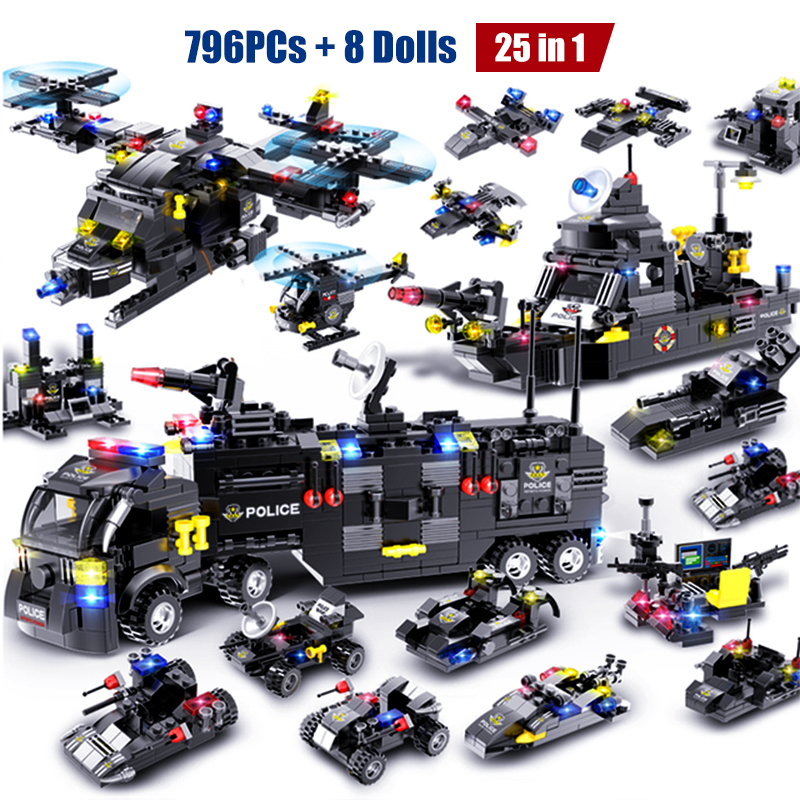 HIPAC 1095PCs Building Blocks SWAT City Police Station Car Truck House Helicopter Blocks Constructor Construction Toys Technic