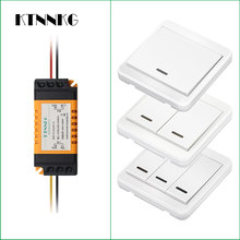 433Mhz default off wireless remote control switch AC 220V 2CH relay receiver module + wall remote control for garage door lights