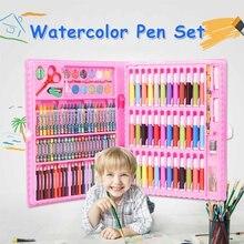 Juego de lápices artísticos de 150 Uds., juego de lápices de cera para pintar, rotuladores, pinceles, herramientas de dibujo, conjunto de suministros de guardería para regalo