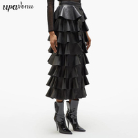 2019 Autumn Fashion New Women'S Sexy Black Pu Leather Ruffled Skirt High Waist Button Street Clothing Skirt