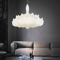 Brief Personalized Fashion Silk Airship Pendant Lights White Engineering Pendant Light AC90 265V Living Room Kitchen Lighting