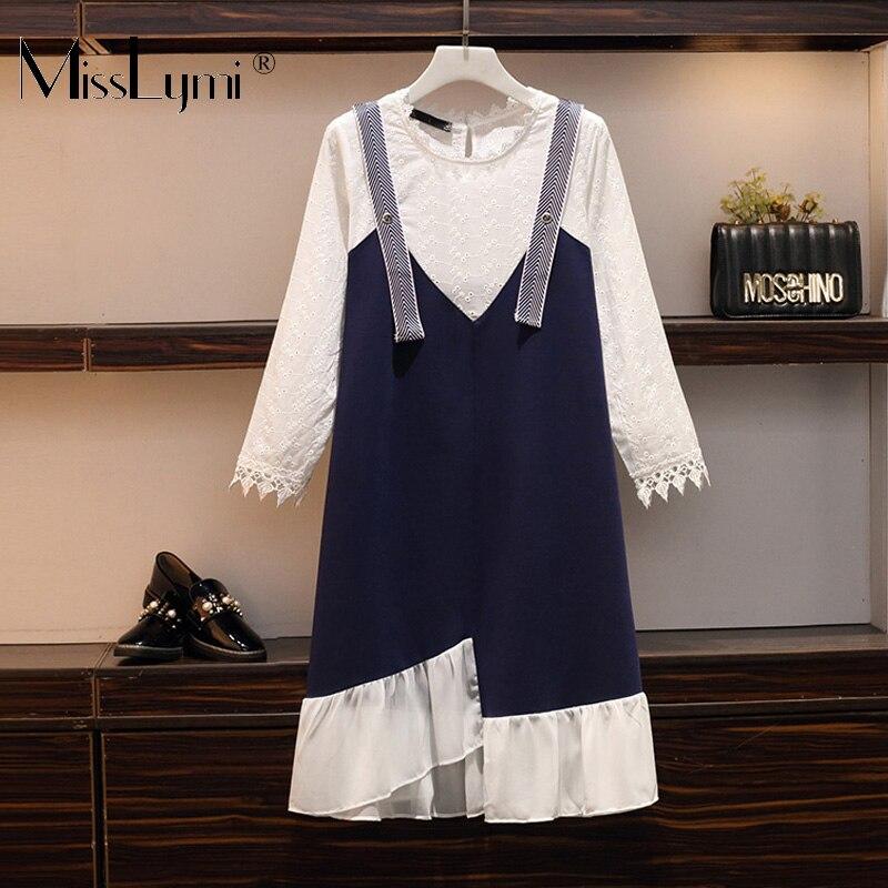 L-5XL grande taille femmes dentelle robe automne 2019 Floral broderie coton à manches longues Patchwork décontracté en mousseline de soie à volants robes