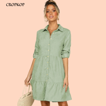 Shirt Dress Long Sleeve Women Clothing Autumn Winter Dress Button Turn-down Collar Ladies A-line Mini Party Dress 2019 Vestidos long sleeve button down mini shift dress