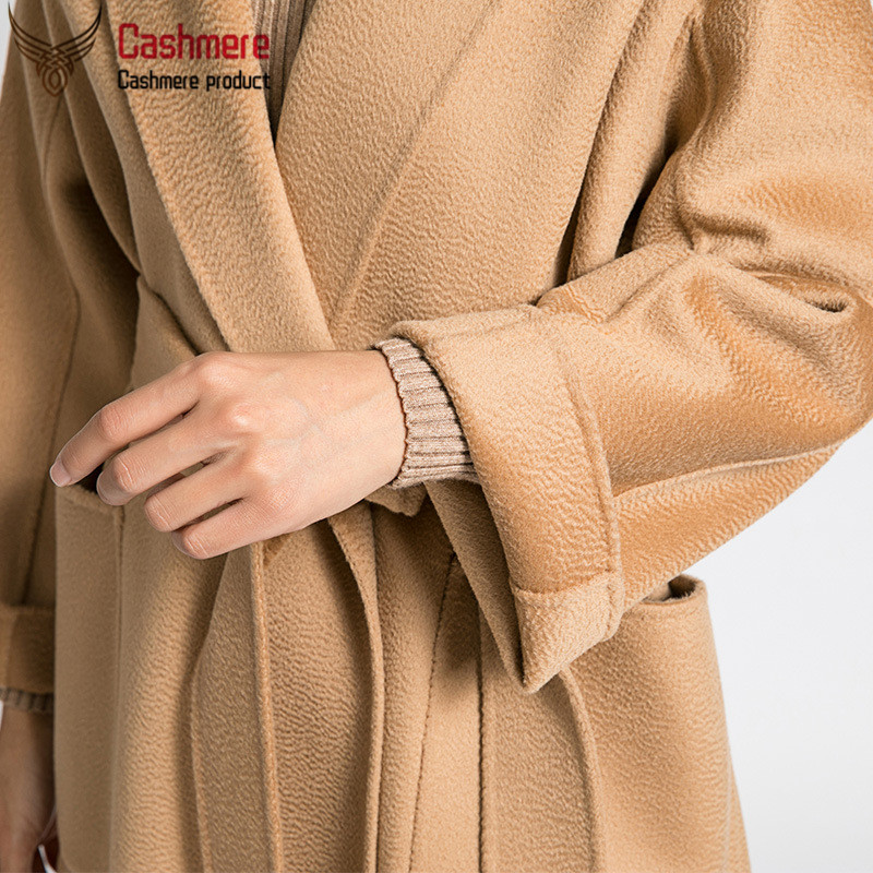 Water ripple double-faced cashmere coat female mid-length wool coat female autumn winter new high-end wool coat black white coat