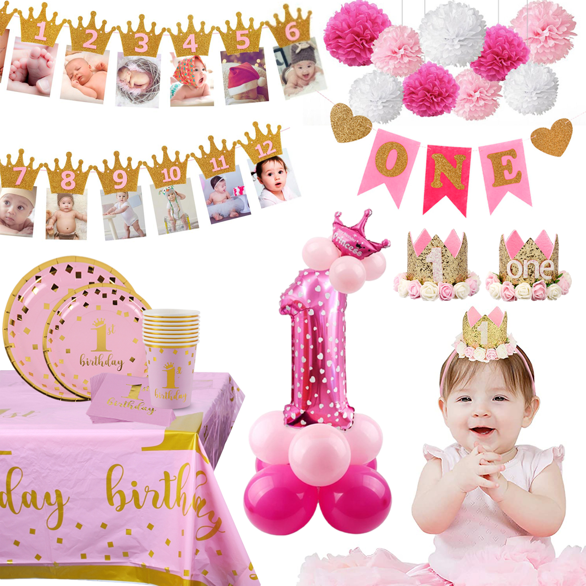 1st Birthday Party Decoration Baby Shower Party Supplies First Birthday Party Decor Balloons 1 Year One Year Old Birthday Girl