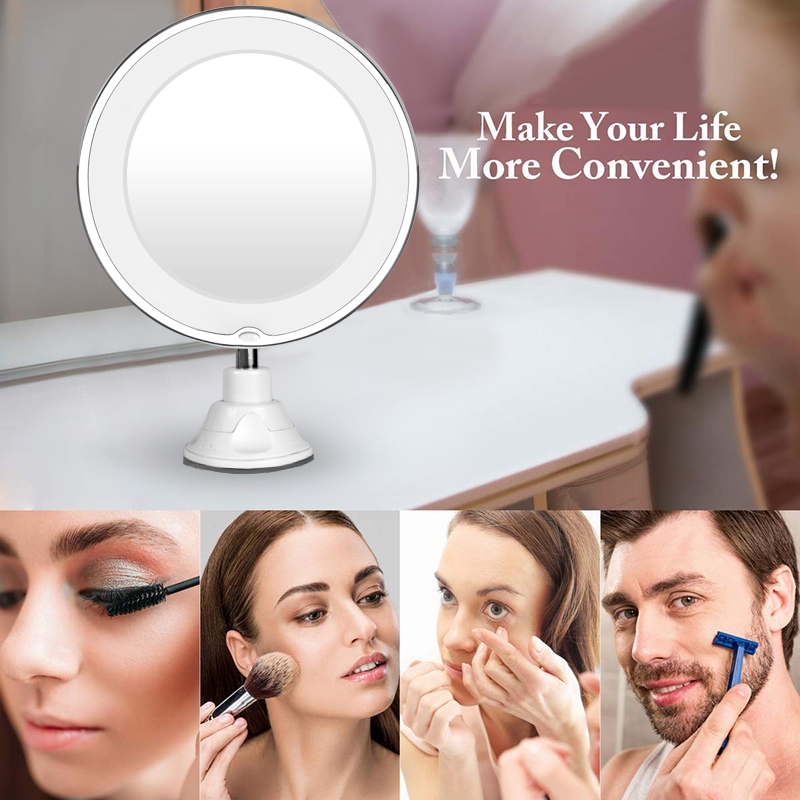 360 Degree Rotation 10X Magnifying Makeup Mirror My Flexible Mirror Folding Vanity Mirror with LED Light Makeup Tools Dropship 1