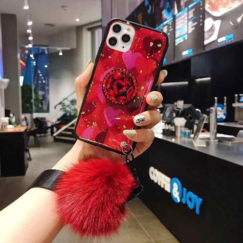 3D Fiori di Rosa gemma Del Supporto Del Basamento Del Telefono Palla di Pelo Per il Caso di iPhone 11 Pro MAX X XR XS Max 6 6S 7 8 Più Il Cordino + Staffa Capa Copertura