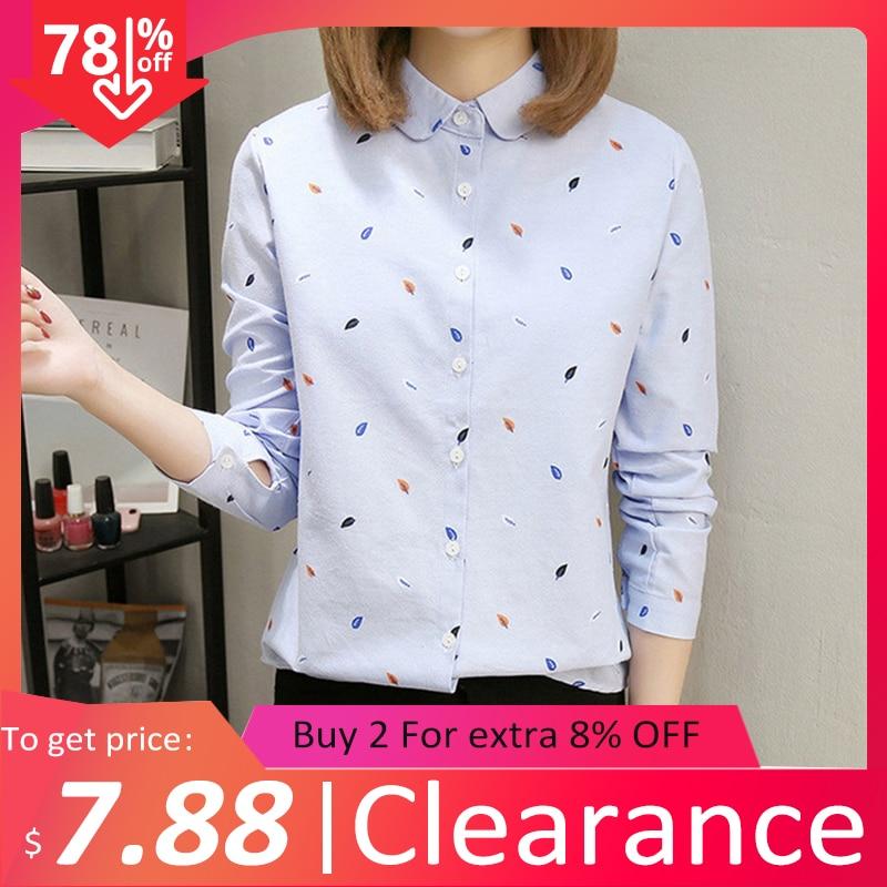 2020 Spring Clearance Women Cotton White Shirt Summer Leaf Print Blue Blouse Turn Down Collar Casual Tops Feminina Blusas T02608