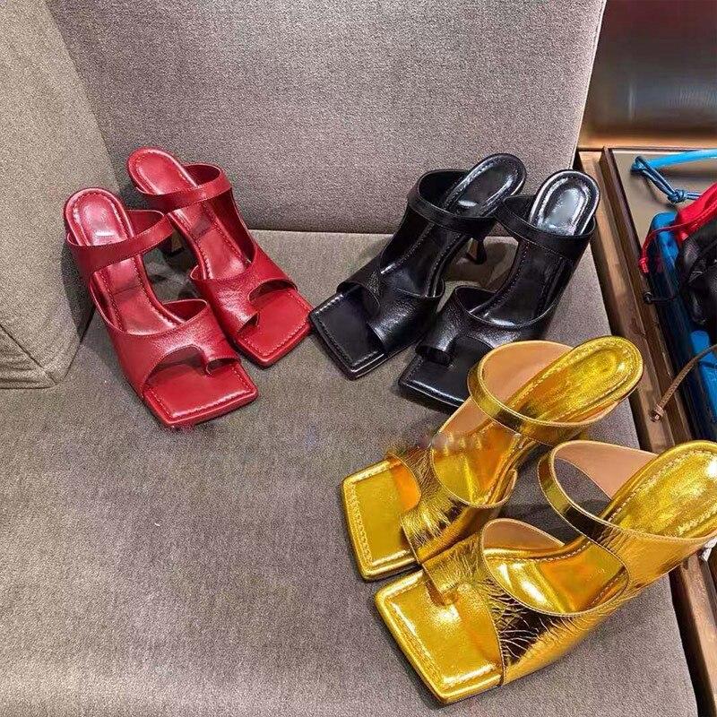 SUOJIALUN 2020Brand Design Women Slipper Elegant Square Toe High Heels Sandal Shoes High Quality Outdoor Slip On Dress Shoes