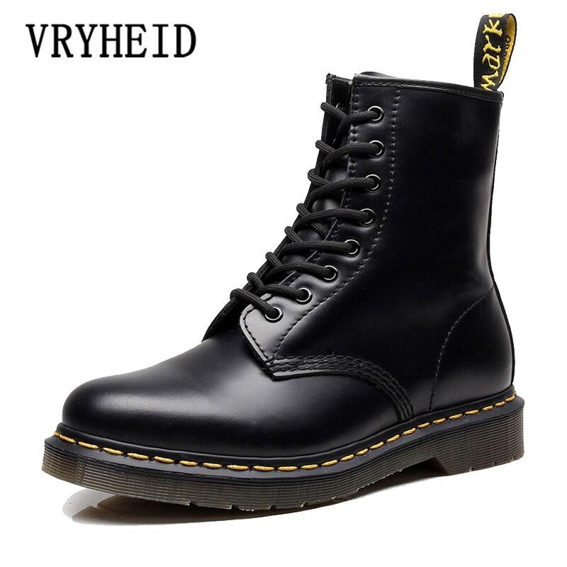 VRYHEID חם מותג גברים מגפי עור אמיתי חורף סתיו נעלי אופנוע Mens קרסול מגפי זוג נעלי חצאיות גודל גדול 34 -48