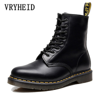 VRYHEID Hot Brand Men Boots Genuine Leather Winter Autumn Shoes Motorcycle Mens Ankle Boots Couple Oxfords Shoes Big Size 34 48