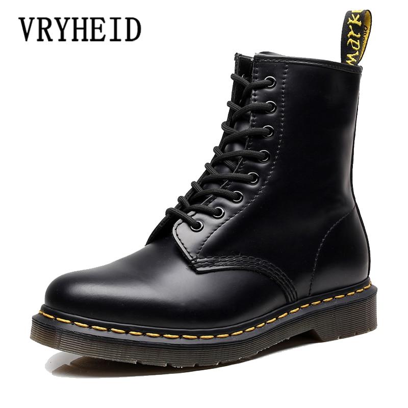VRYHEID caliente de la marca de los hombres botas de cuero genuino zapatos para invierno, otoño de la motocicleta para el tobillo botas Oxfords zapatos de gran tamaño 34-48
