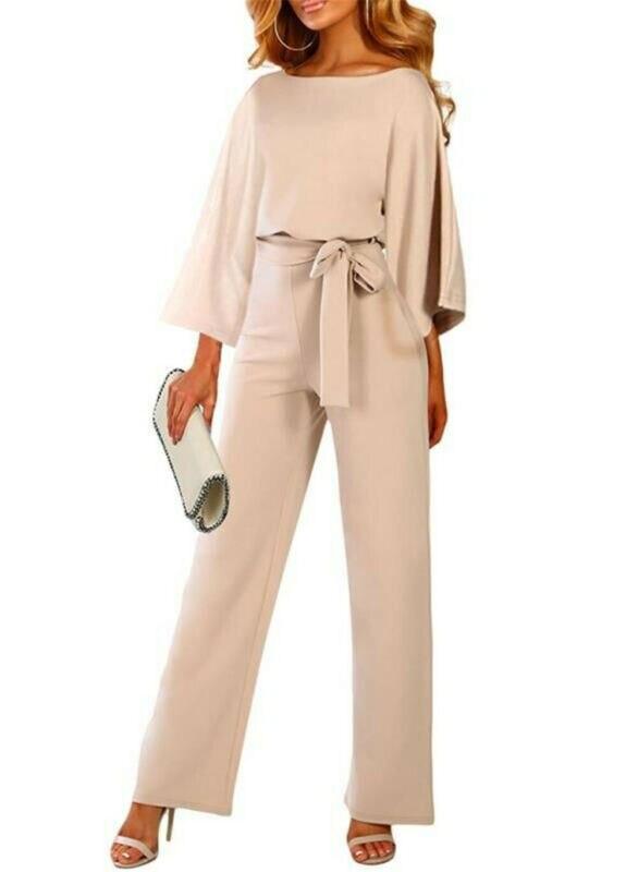 Plus Size 2XL Sexy O Neck Wide Leg Jumpsuit Pleated Sleeve High Waist Straight Elegant Pants OL Women Sets 2019 New Fashion