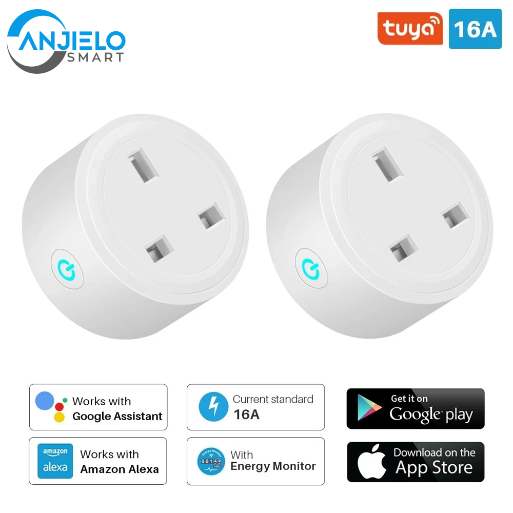 Smart Plug WiFi Socket 16A Power Monitor Timing Function Tuya SmartLife APP Control Works With Alexa Google Assistant 2 Pack