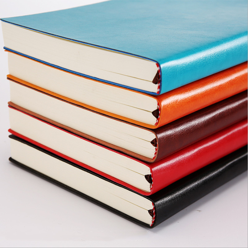 A5 A6 B5 three sizes 4 styles 5 colors large business diary leather soft copy notebook increase thick notebook 1