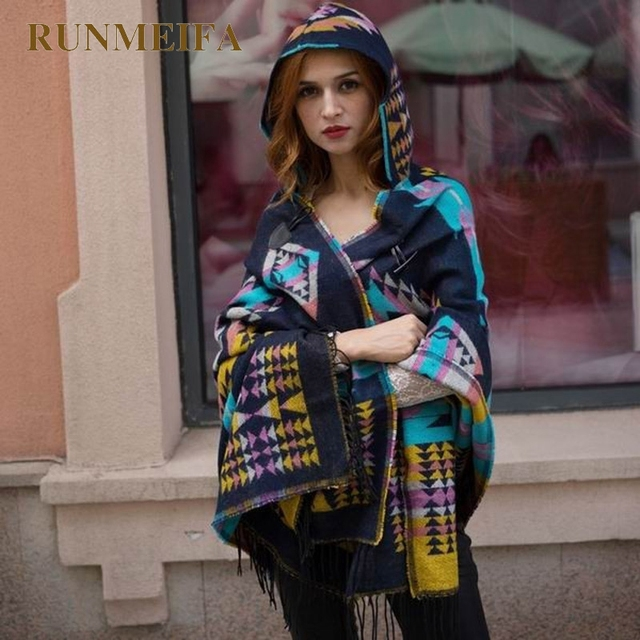 2019 Women Winter Boho Hooded Coat Poncho female Cashmere Scarves ladies Warm Shawls and Wrap Pashmina Thick Capes blanket scarf 3
