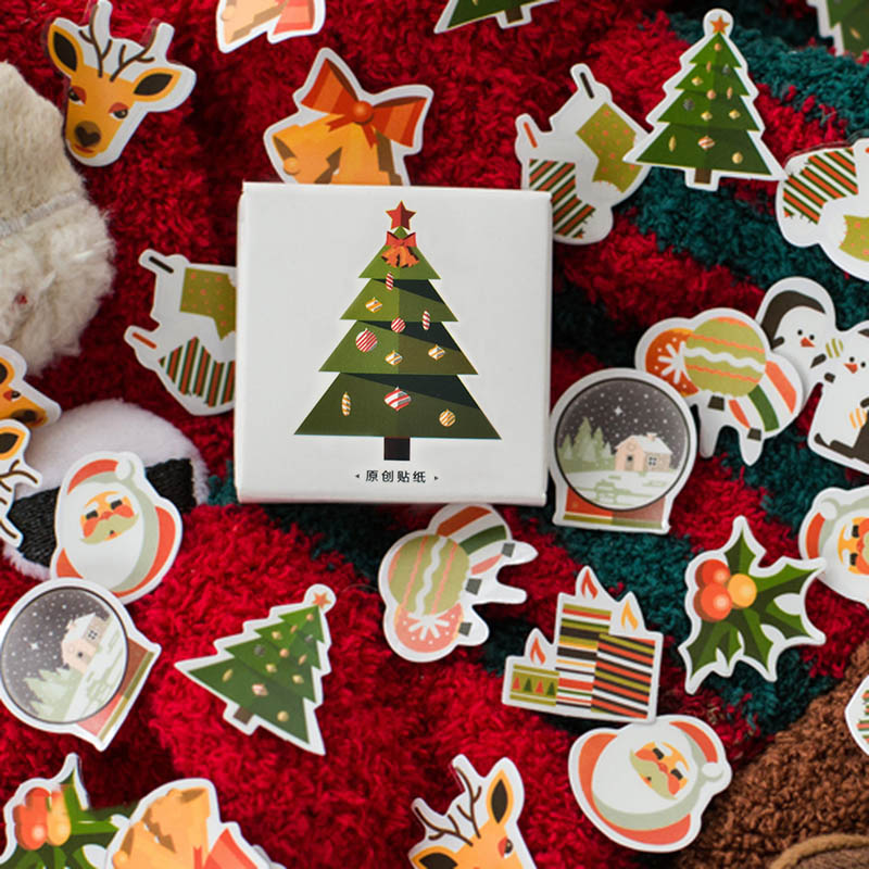 50pcs/box Kawaii Deer Stickers Christmas Trees Stickers Adhesive Cute Stickers Decor Scrapbooking Diary Albums Cute Papeterie
