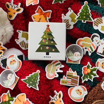 50pcs/box Kawaii Deer Stickers Christmas Trees Adhesive Cute Decor Scrapbooking Diary Albums Papeterie - discount item  30% OFF Stationery Sticker