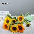 1 искусственный подсолнух цветы букет Шелковый Искусственный цветок высокого качества flores светодиодные фонари для дома и сада вечерние сва...
