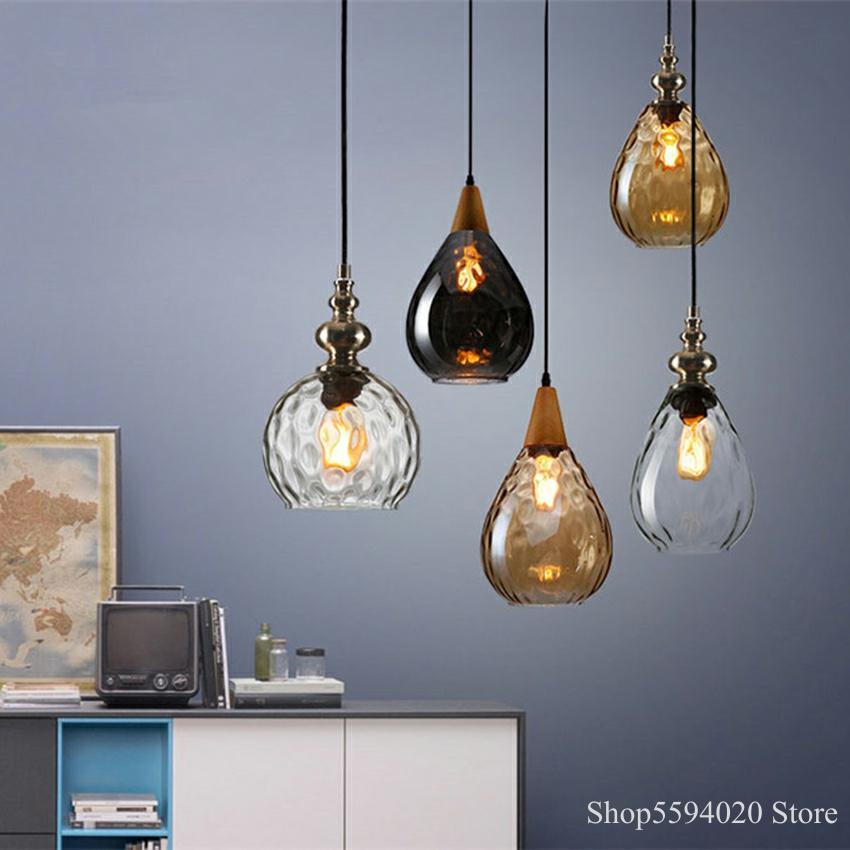 Nordic Loft Vintage Glass Pendant Lights Led Pendant Lamp Coffee Decor Hanging Lamp Suspension Luminaire Led Industrial Lamp