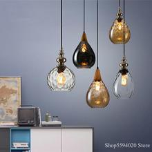 Luces colgantes de cristal nórdicas clásicas para Loft, lámpara colgante Led para decoración de café, lámpara colgante, luminaria Led Industrial