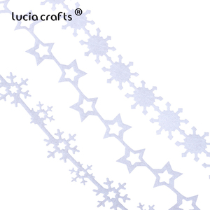 Image 2 - 5yards 25/35mm Non woven Ribbons Fabric Star Snowflake Trim Lace DIY Crafts Hanging New Year Christmas Tree Decoration B1209