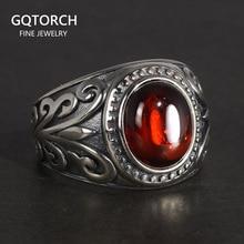 남자를위한 진짜 925 순은 보석 빈티지 반지는 빨간 석류석을 가진 새겨진 꽃 자연적인 돌 정밀한 보석