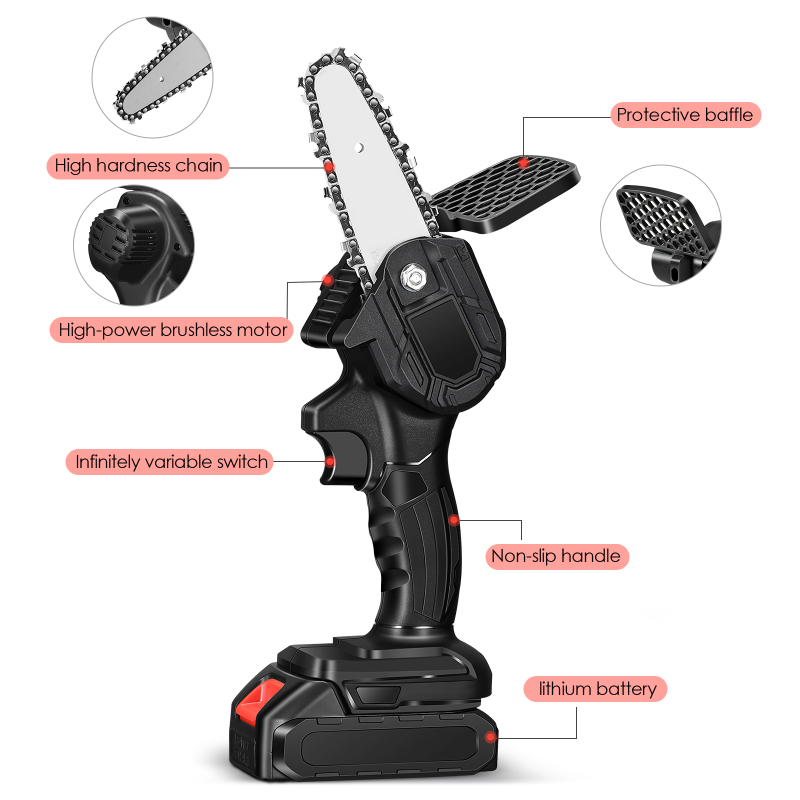 4-Inch Electric Chain Saw Pruning ChainSaw Cordless Garden Tree Logging Trimming Saw Woodworking Cutter Tool Kits