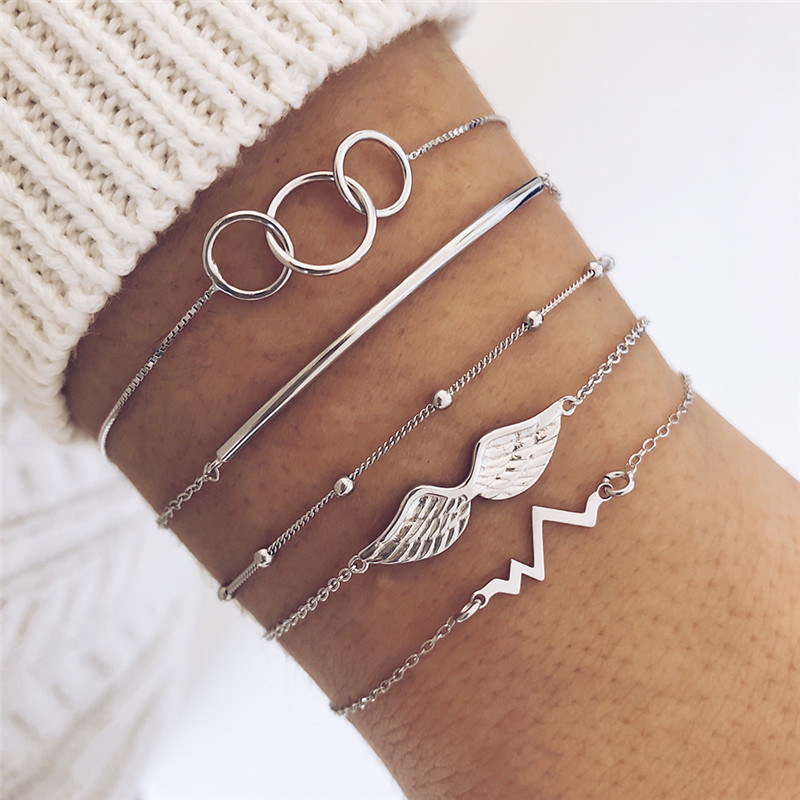 5 pcs/set Minimalism <font><b>Silver</b></font> Color Electrocardiogram Wings Charm <font><b>Bracelets</b></font> for Women Smooth Metal <font><b>Tube</b></font> Circle <font><b>Bracelet</b></font> Set image