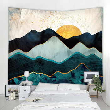 The sun rises in the mountains Indian Mandala Tapestry Wall Hanging Bohemian Gypsy Psychedelic Tapiz Witchcraft Tapestry hanging mountains boat lake wall tapestry