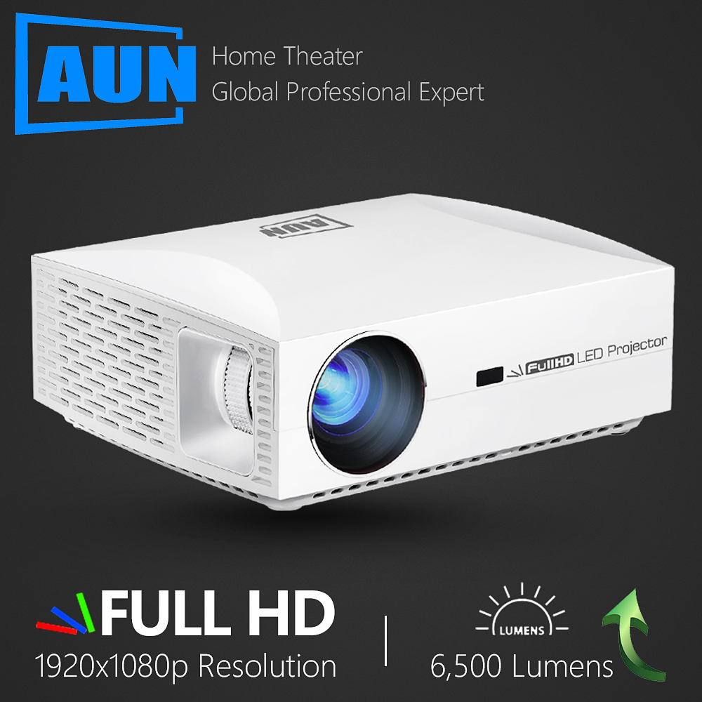 AUN Full HD Projector F30UP. 1920x1080P. Android 6.0 (2G+16G) WIFI, LED MINI Projector Home Cinema, HDMI 3D Video Beamer For 4K.