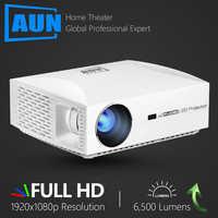 AUN projecteur Full HD F30UP. 1920x1080P. Android 6.0 (2G + 16G) WIFI, cinéma maison MINI projecteur LED, projecteur vidéo HDMI 3D pour 4K.