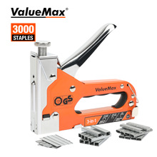 3-In-1 Stapler Furniture-Tool Nail-Gun Wood-Frame Valuemax Stainless-Steel
