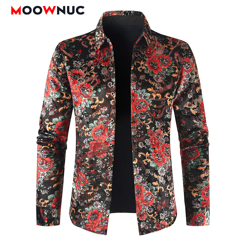 Shirts Casual Fashion Hombre Shirts Costume Personality Printed Rose Men Velvet Host Spring Autumn Male Long Sleeve Slim MOOWNUC