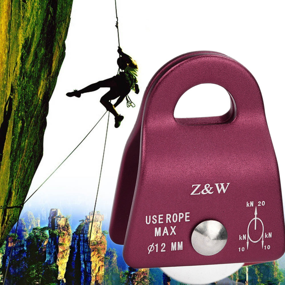 Hiking Climbing Miniature Pulley Single Fixed Pulley Mobile 20KN Mountaineering Climbing Rappelling Pulley Survival Equipment
