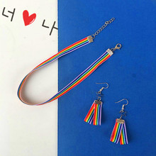 Spring and autumn new long rainbow girl series earrings love five-pointed star white ear hook female hot selling wholesale