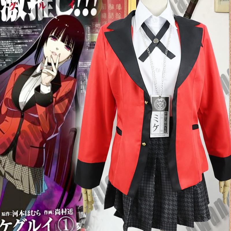 New Anime Kakegurui Jabami Yumeko Cosplay Costumes Jacket Skirt Gift Socks Girl Uniform Full Halloween Costume