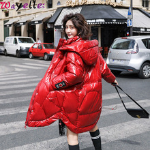 Winter White Duck Glossy Down Jacket Women 2019 New Hooded Zipper Women Winter Long Jacket Coat Thicken Warm Outwear Large Size стоимость